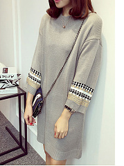Round Neck  Plain Knit Daily Shift Dress