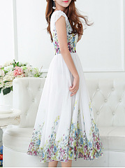 Summer V-Neck Floral Printed Chiffon Long Dress