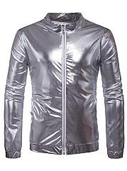 Sparkling-Band-Collar-Pocket-Plain-Men-Jacket