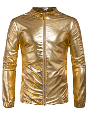 Sparkling Band Collar Pocket Plain Men Jacket