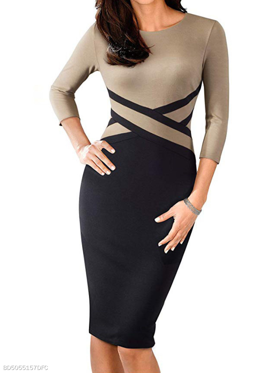 Round Neck  Patchwork  Bust Darts  Colouring Bodycon Dress