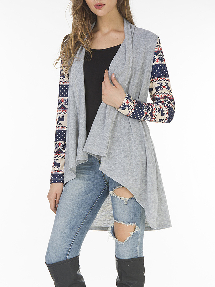 Lapel Christmas Printed Long Sleeve Cardigan