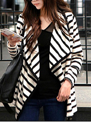 Lapel-Striped-Asymmetric-Hem-Blazer