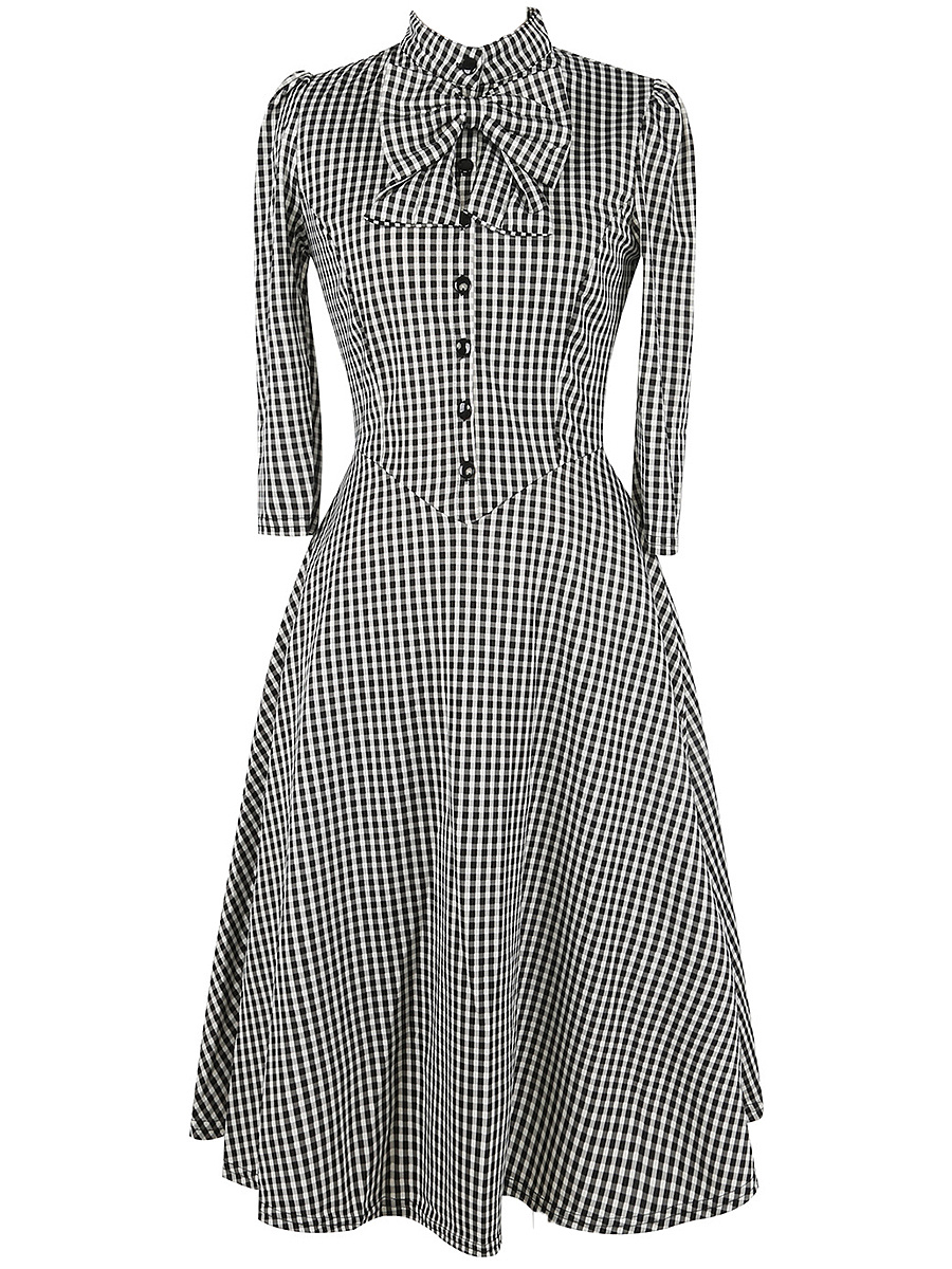 Elegant Band Collar Bowknot Plaid Skater Dress