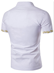 Fold-Over Collar  Plain  Short Sleeve Short Sleeves