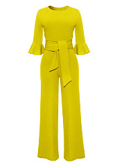 Round-Neck-Belt-Plain-Bell-Sleeve-Wide-Leg-Jumpsuit