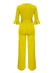 Round Neck Belt Plain Bell Sleeve Wide-Leg Jumpsuit