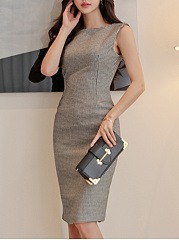 Boat Neck  Hollow Out Bodycon Dress