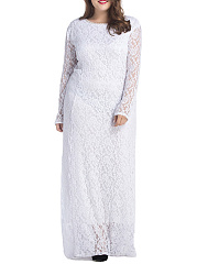 Classic Lace Chic Hollow Out Plain Plus Size Evening Dress