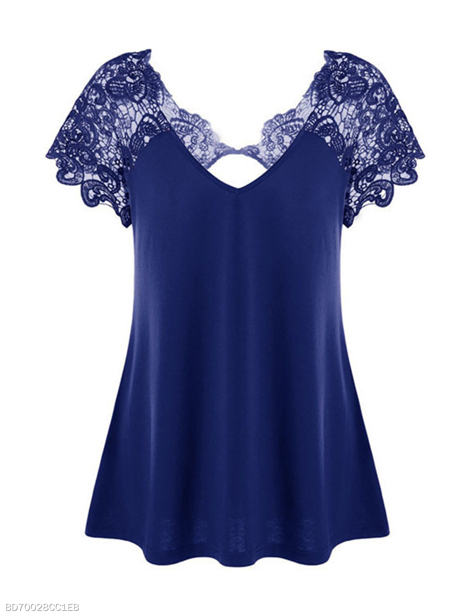 V-Neck  Plain  Lace Hollow Short Sleeve Plus Size T-Shirts
