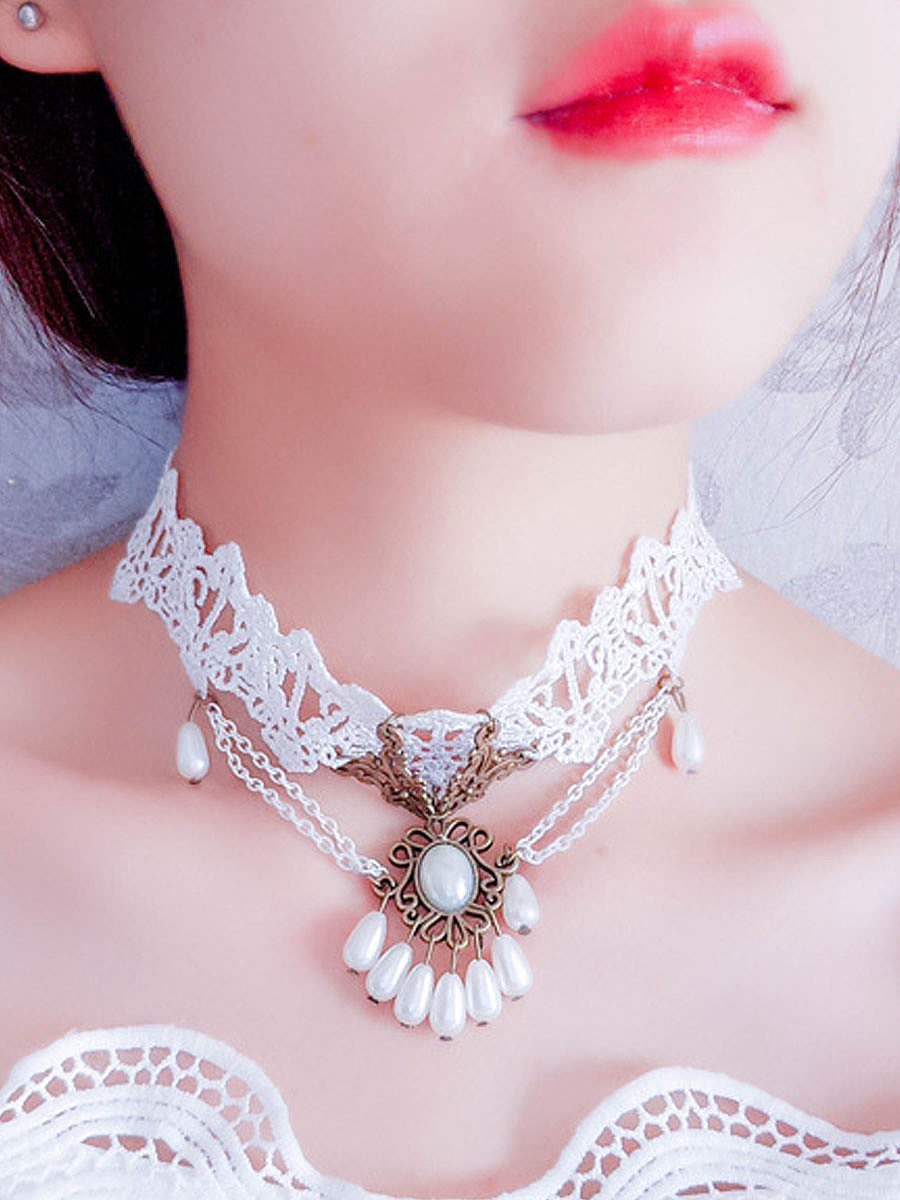 Decrotive Faux Pearl White Lace Chic Chocker For Women
