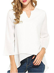 Autumn Spring  Polyester  Women  V-Neck  Asymmetric Hem  Plain  Three-Quarter Sleeve Blouses