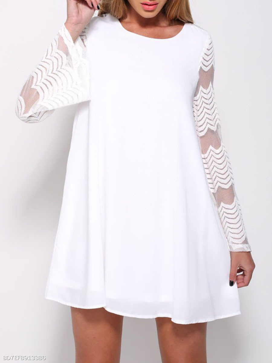 Round Neck See-Through Plain Chiffon Shift Dress