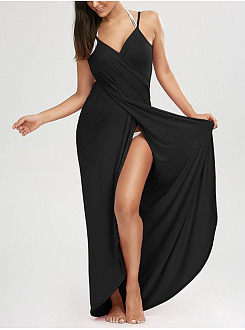 Spaghetti Strap  Plain Beach Maxi Dress