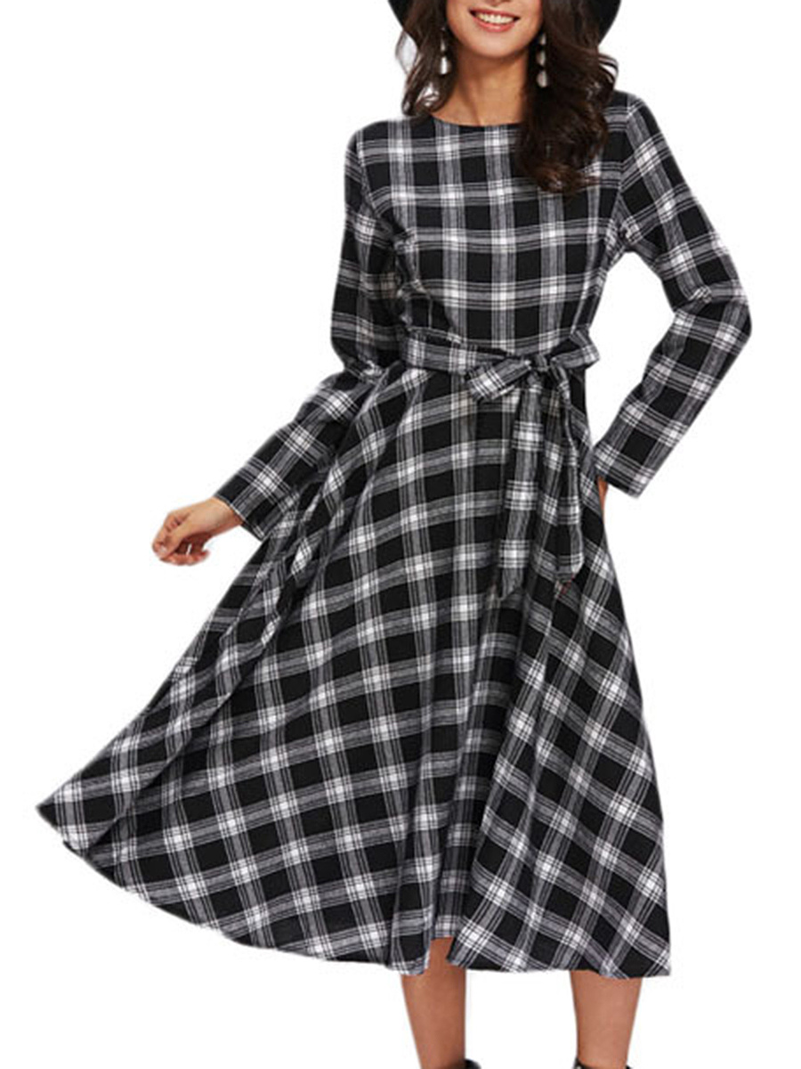Round Neck Plaid Bowknot Skater Dress