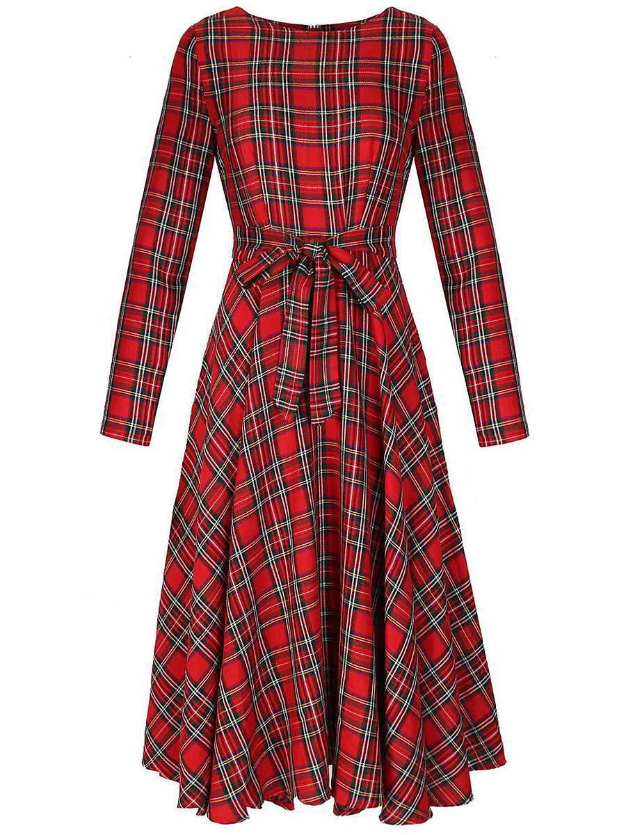 Round Neck Plaid Bowknot Skater Dress. Round ...