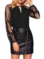 Spring Summer  Polyester  Women  Round Neck  Decorative Lace See-Through  Plain  Long Sleeve Blouses