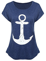 Round-Neck-Anchor-Printed-Short-Sleeve-T-Shirt