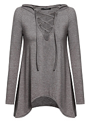 V-Neck Lace-Up High-Low Hoodie