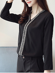 V-Neck  Beading Lon Sleeve Blouse