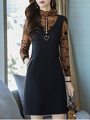 Band Collar  Decorative Hardware  Color Block  Polyester Shift Dress