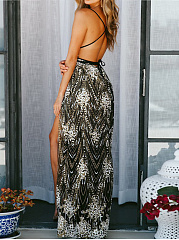 Spaghetti Strap  Asymmetric Hem  Brocade Maxi Dress