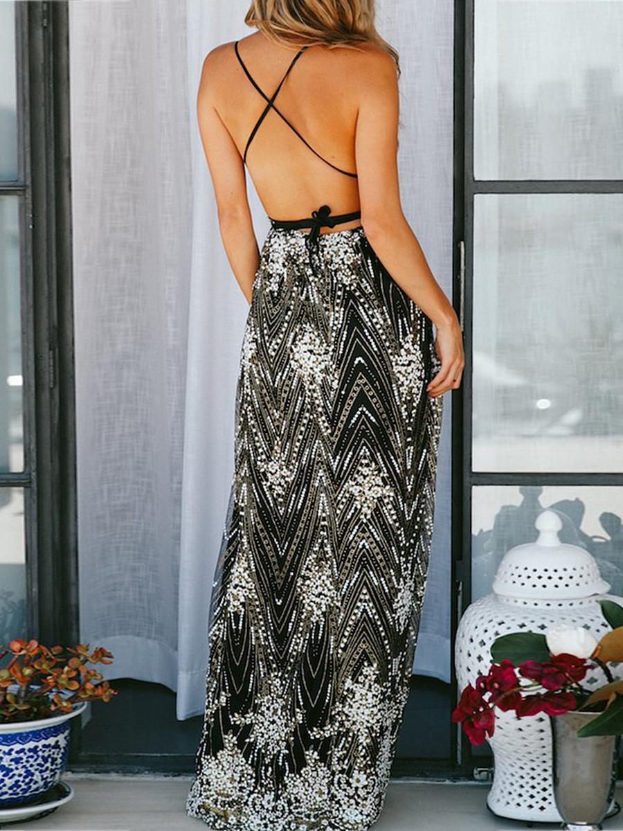 Spaghetti Strap  Asymmetric Hem  Brocade Maxi Dress