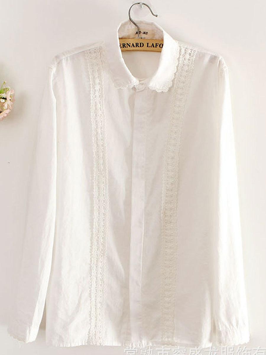 Autumn Spring  Cotton  Women  Decorative Lace  Plain  Long Sleeve Blouses