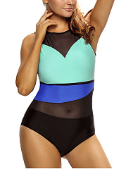 Crew Neck  Color Block Plain One Piece