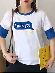 Summer  Cotton  Women  Round Neck  Color Block Letters Short Sleeve T-Shirts