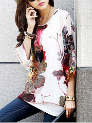 Casual See-Through Printed Batwing Sleeve Tunic
