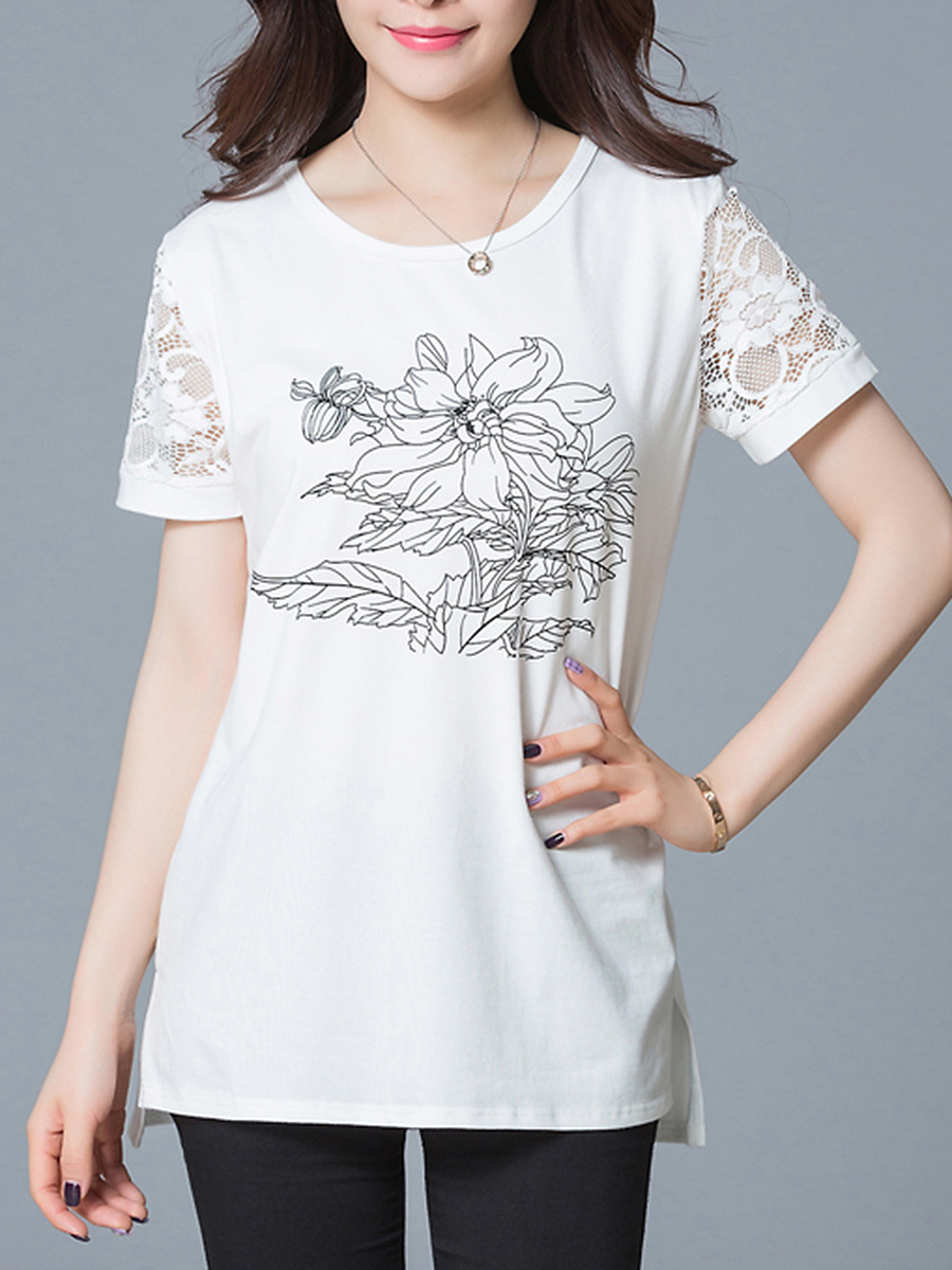 Round Neck  Floral Hollow Out Blouse
