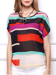 Round-Neck-Geometric-Striped-Short-Sleeve-T-Shirts