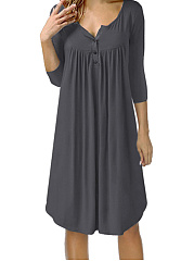 V Neck  Single Breasted  Plain Shift Dress