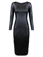 Round Neck Plain Faux Leather Bodycon Dress