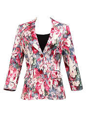 Notch Lapel  Flap Pocket  Floral  Cuffed Sleeve Blazers