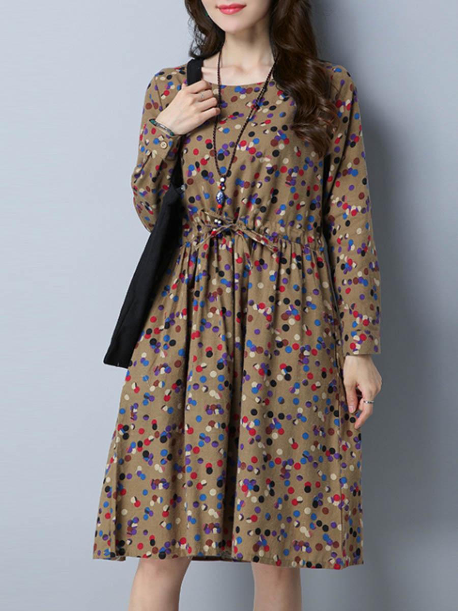 casual drawstring slit pocket polka dot casual vacation autumn spring flared Round Neck Drawstring Pocket Polka Dot Skater Dress