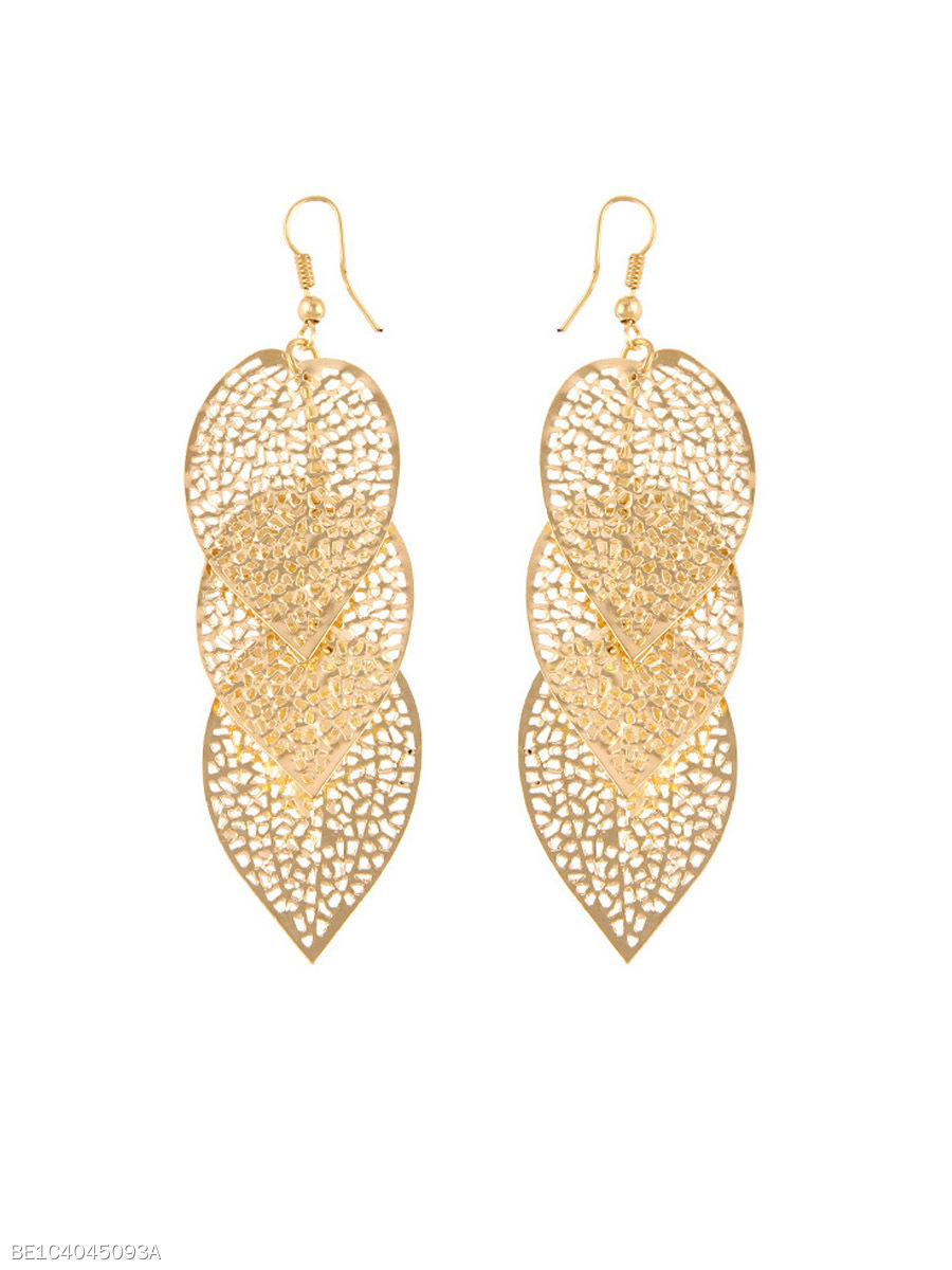 Alloy Hollow Out Metal Leaf Earrings