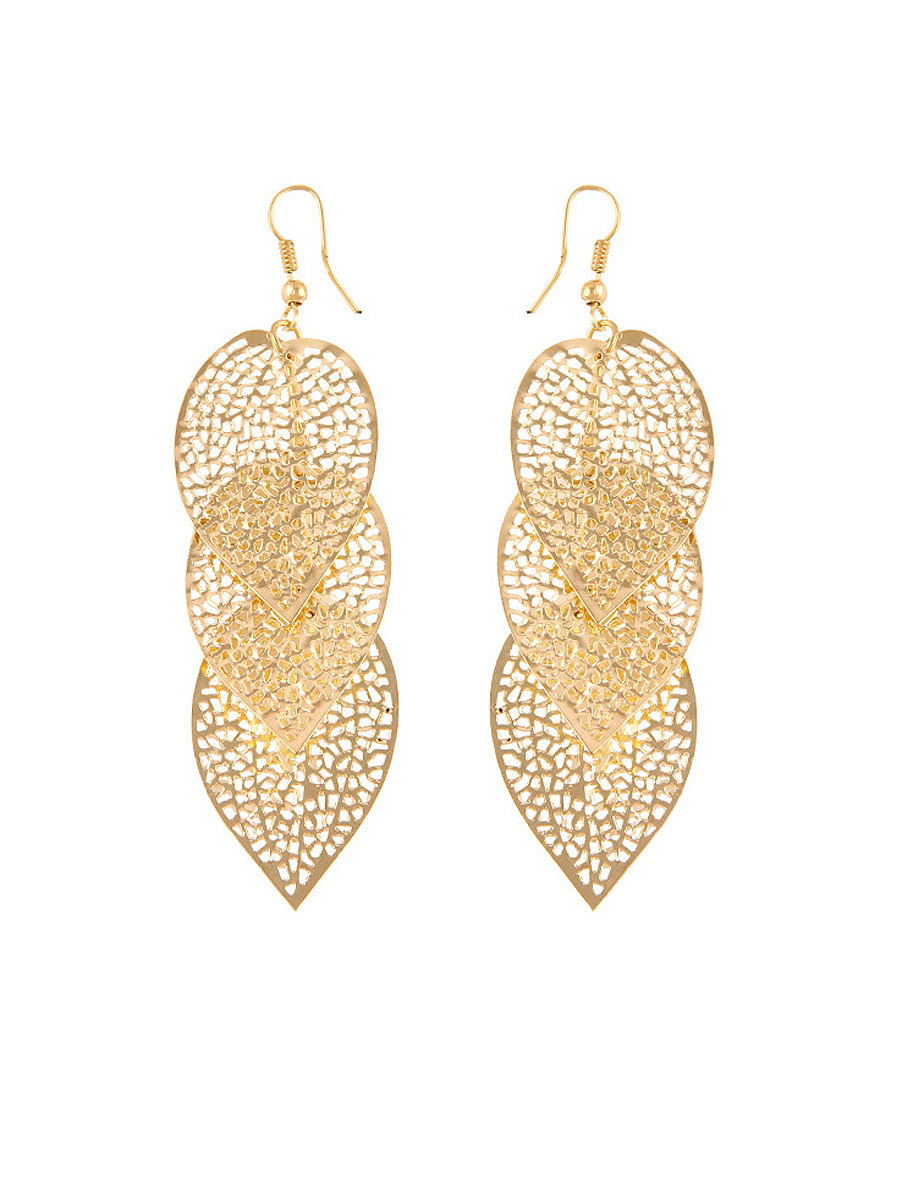 Gold Hollow Out Metal Leaf Earring
