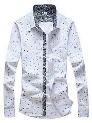 Tiny Flower Printed Patch Pocket Men Shirts