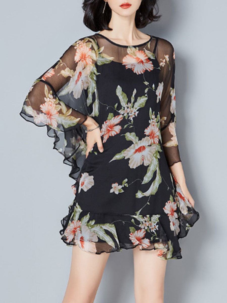 See-Through Floral Printed Batwing Sleeve Two-Piece Shift Dress