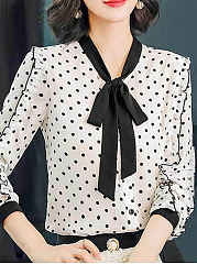 Bow Collar  Bowknot  Dot Blouses