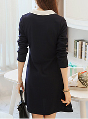 Contrast Doll Collar Shift Dress