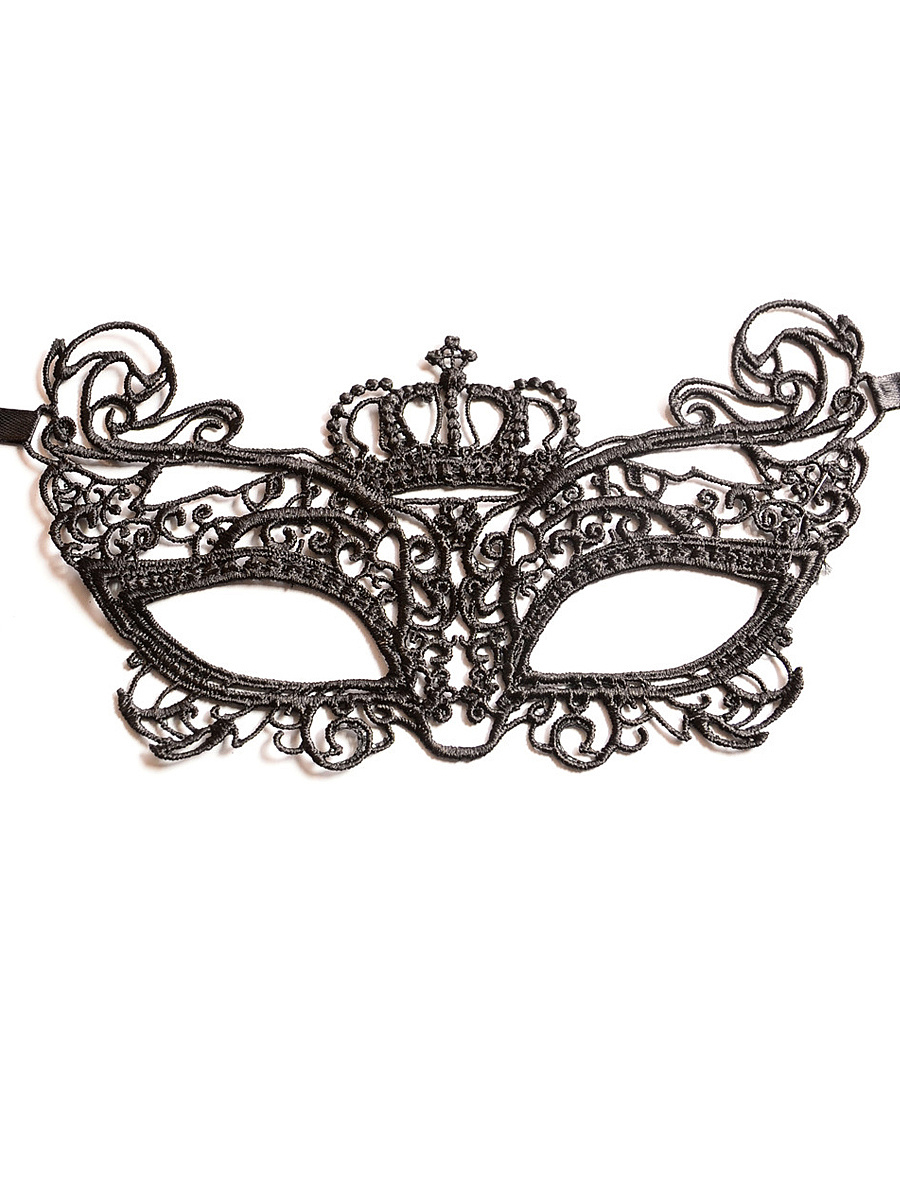 Crown Shape Lace Ribbon Mask