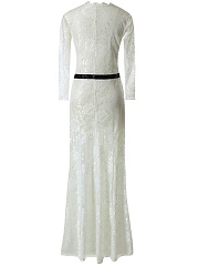 Deep V-Neck Hollow Out Lace Maxi Dress