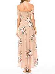 Off Shoulder Floral Smocked Bodice Slit High-Low Chiffon Maxi Dress