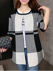 Collarless-Striped-Half-Sleeve-Cardigans