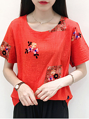 Spring Summer  CottonLinen  Women  Round Neck  Embroidery Short Sleeve T-Shirts