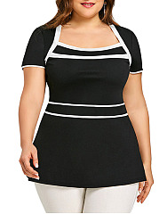 Square Neck  Color Block  Short Sleeve Plus Size Tops