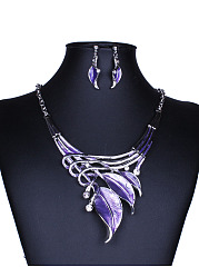 Colorful Leaf Shape Earrings And Necklace Set